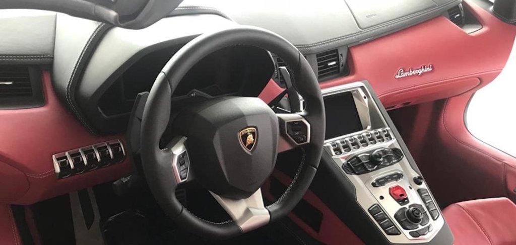 interior car detailing on Lamborghini interior