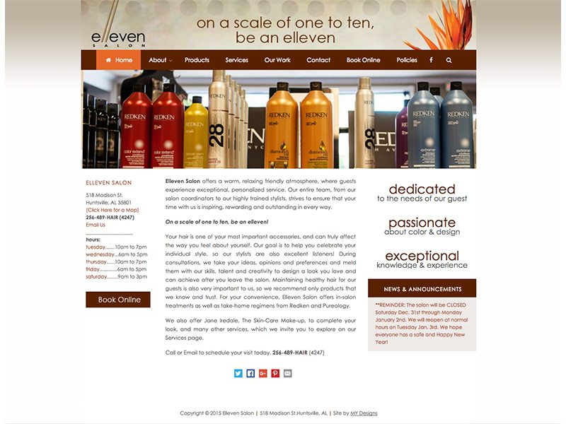 Elleven Salon Website