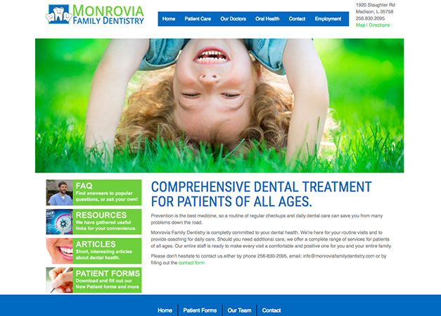 Monrovia Family Dentsitry Website