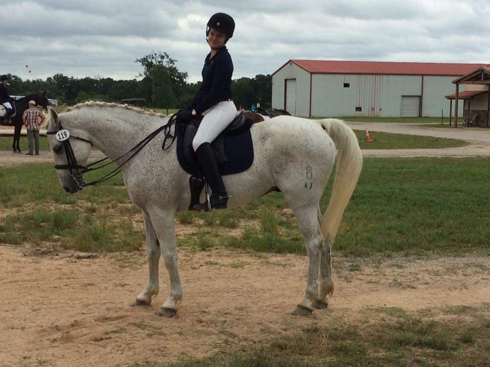 Madison Watts Bel Canto Farms instructor on grey horse