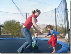 Sis and kids on trampoline