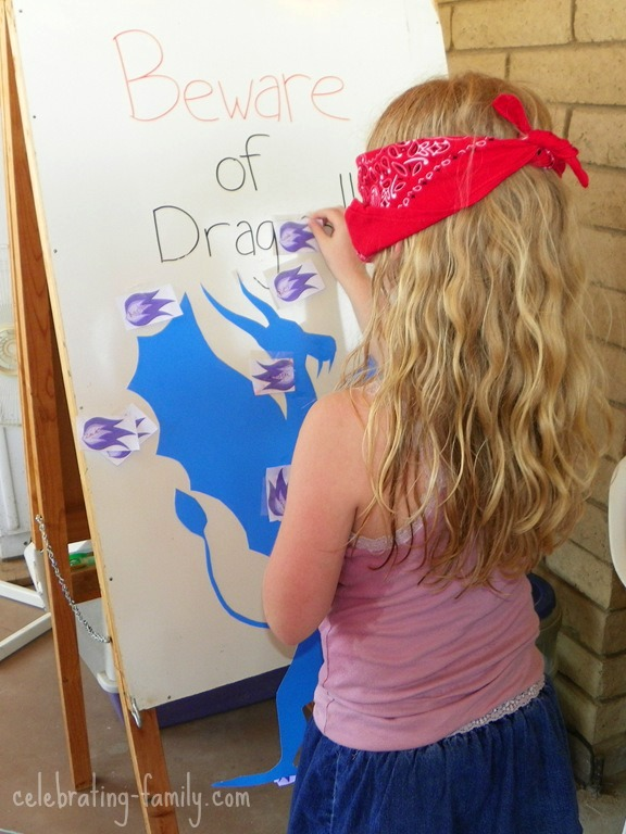 Dragon Birthday Party Ideas - Pin the Fire on the Dragon