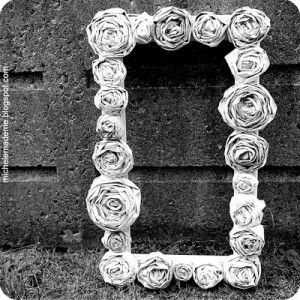 Newspaper square rose wreath by Michele Made me