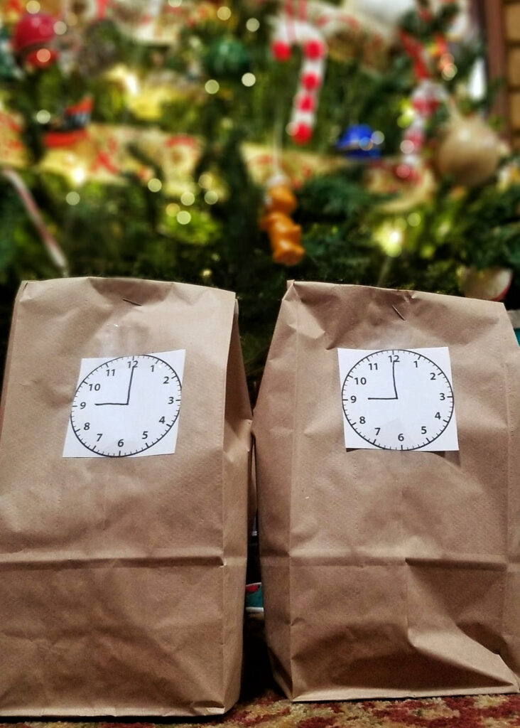 Two bags in front of a Christmas tree