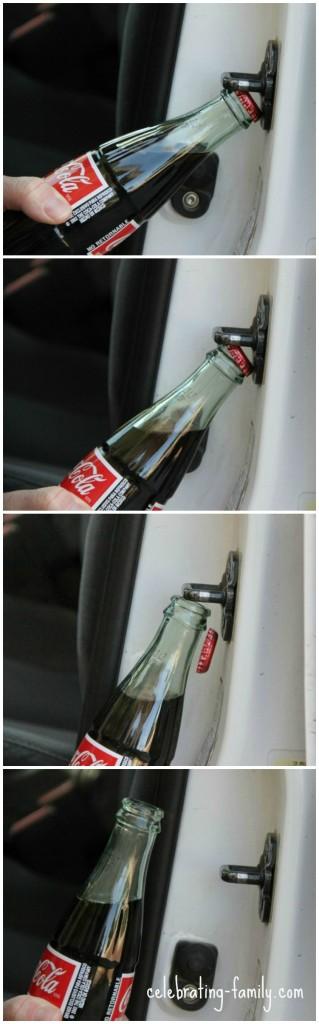 Car door bottle opener