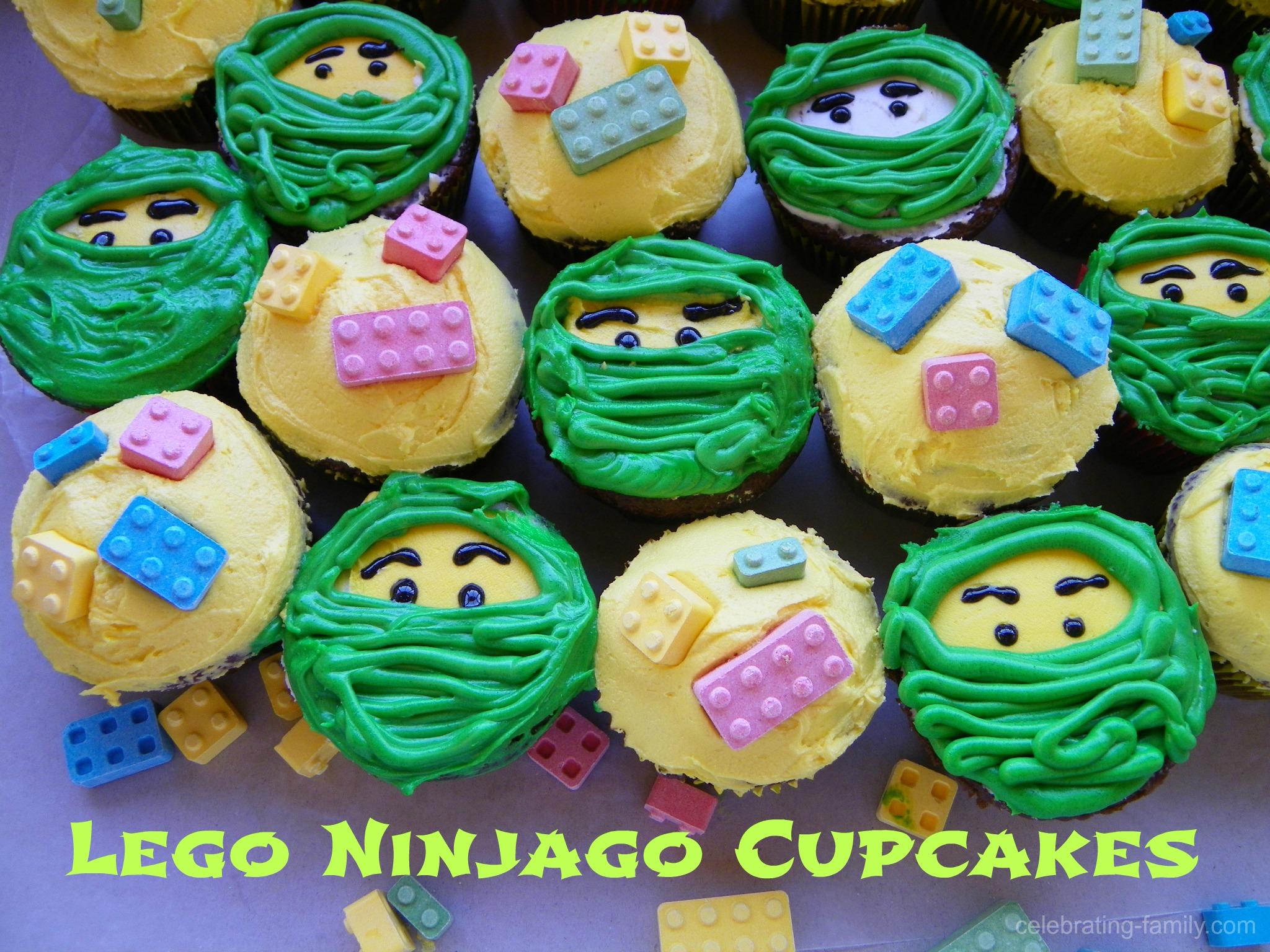 Lego Ninjago Cupcakes with ninja faces and legos