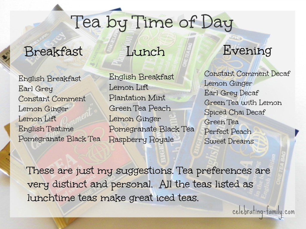 Tea by time of day- suggestions from Celebrating Family #AmericasTeaChallenge  #shop