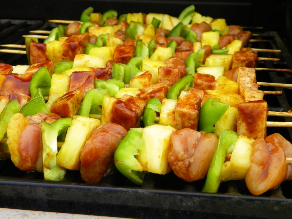 Hawaiian BBQ Skewers on the grill