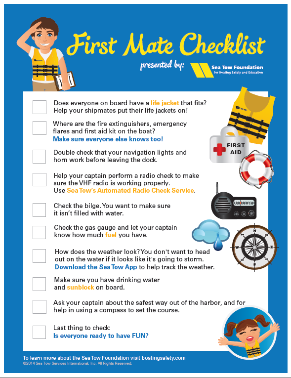 First Mate Checklist | Boating Safety Tips