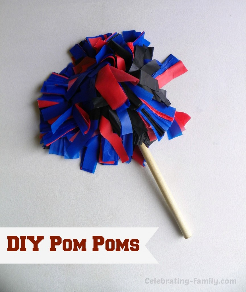 DIY pom poms from plastic tablecloths. Hosting a Championship Worthy Basketball Party