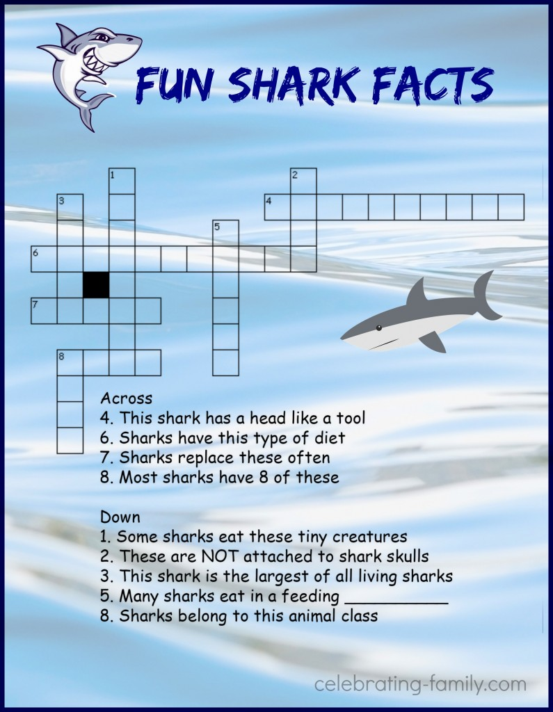 Shark Week Crossword Puzzle Activity