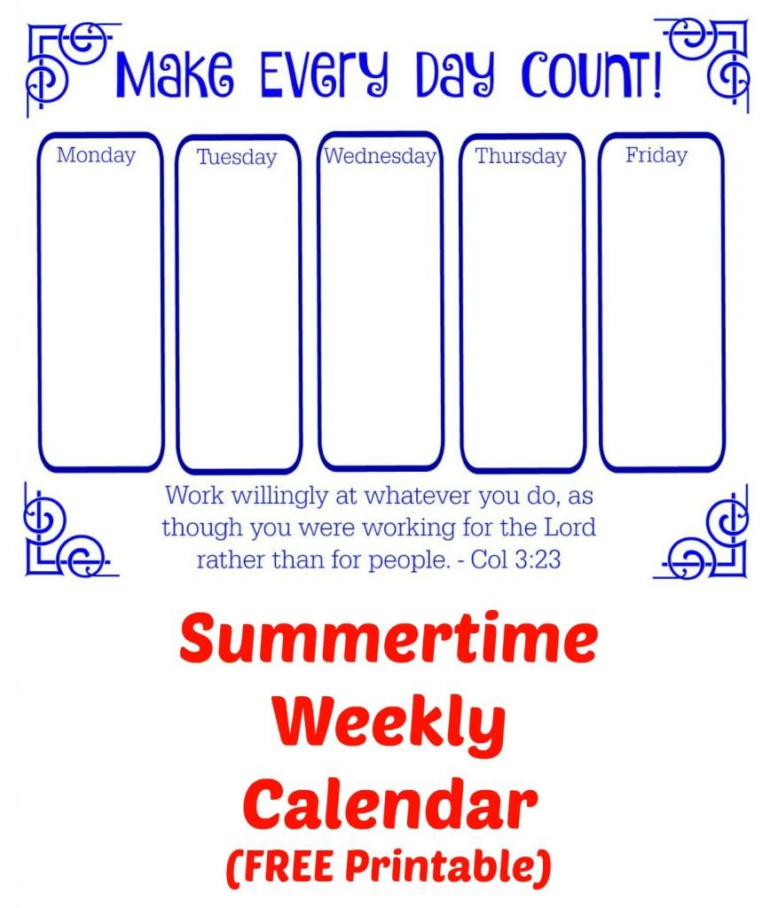 Summertime Weekly Calendar