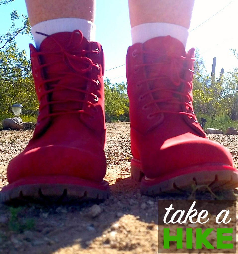 Red Timberland hiking boots from #KicksUSA
