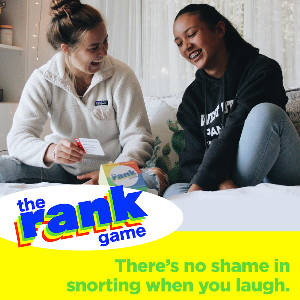 Rank Game ad with 2 teens playing