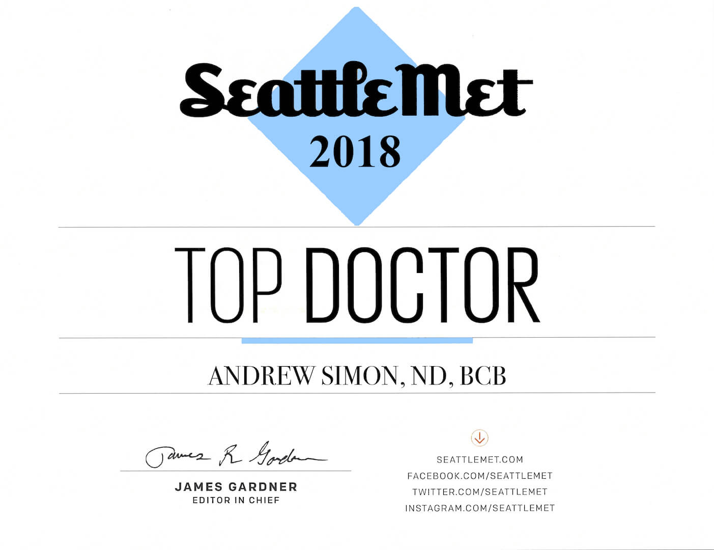 Seattle Met Top Doctor 2018