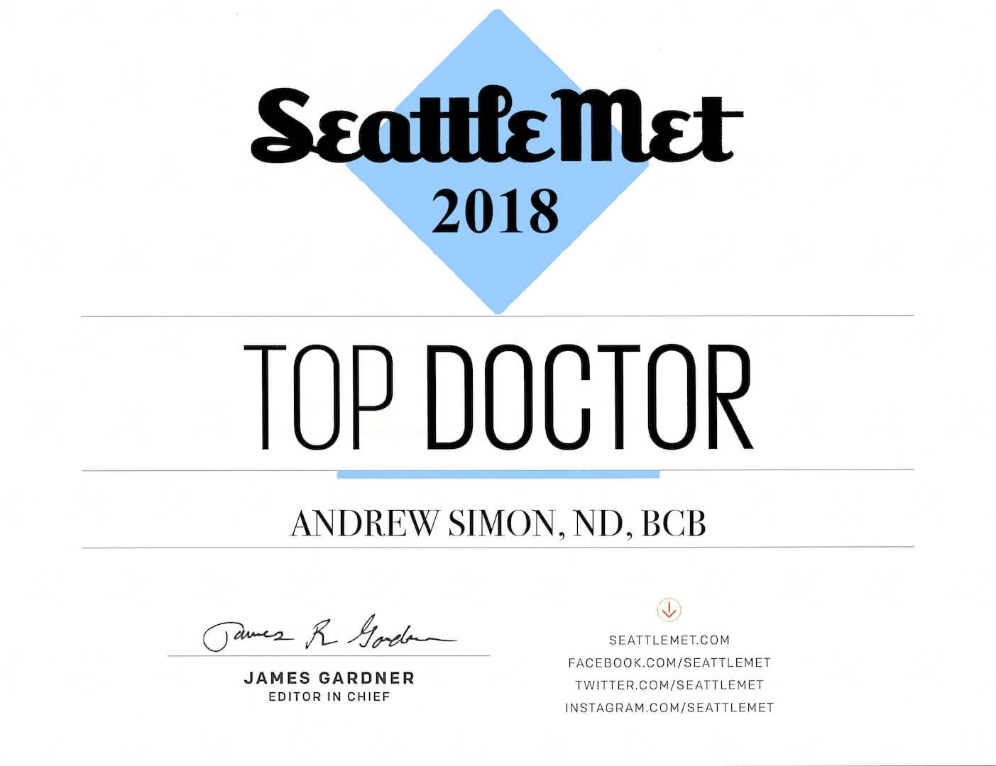 Seattle Met Top Doctor 2018