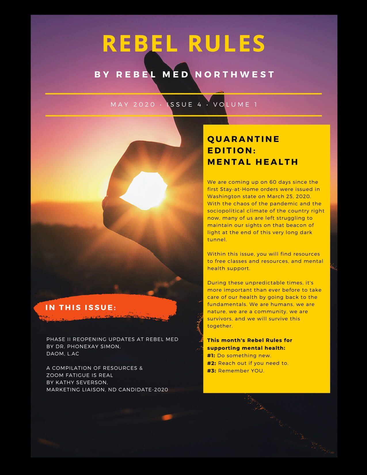 Rebel Rules, Rebel Med Nw, Naturopathic Medicine, Acupuncture, Alternative Medicine, Covid-19, Quarantine, Pandemic, Coronavirus