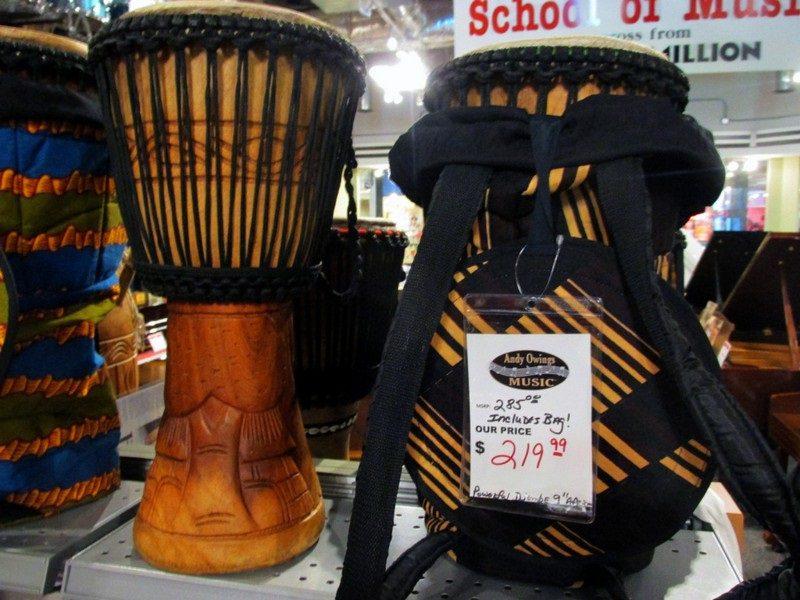 Wooden drums on display