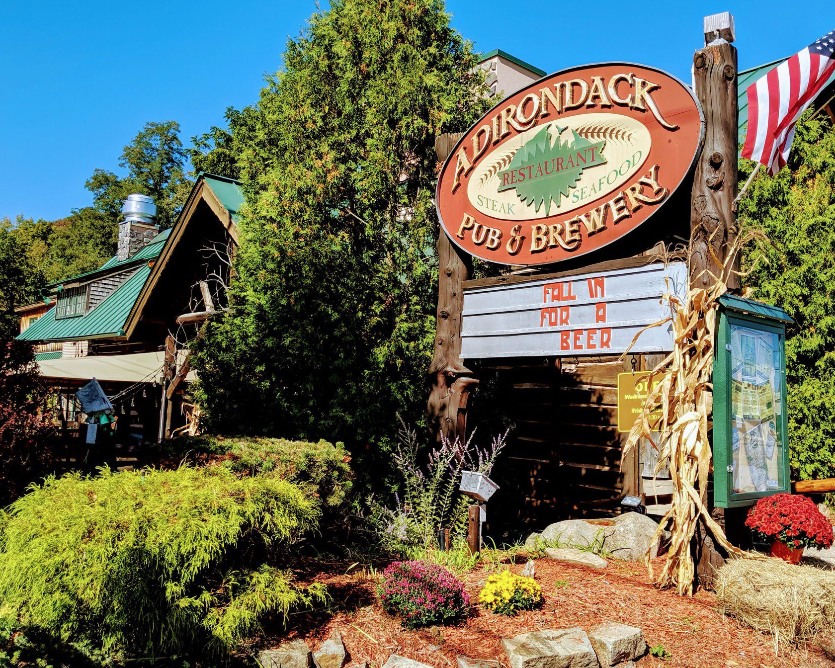 adirondack pub and brewery sign in Lake George