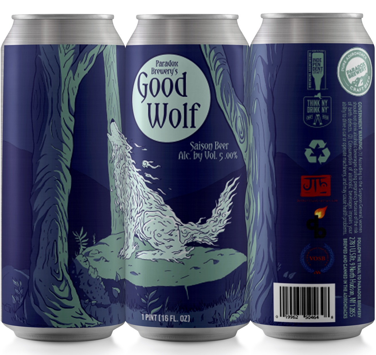 paradox brewery cans of good wolf beer
