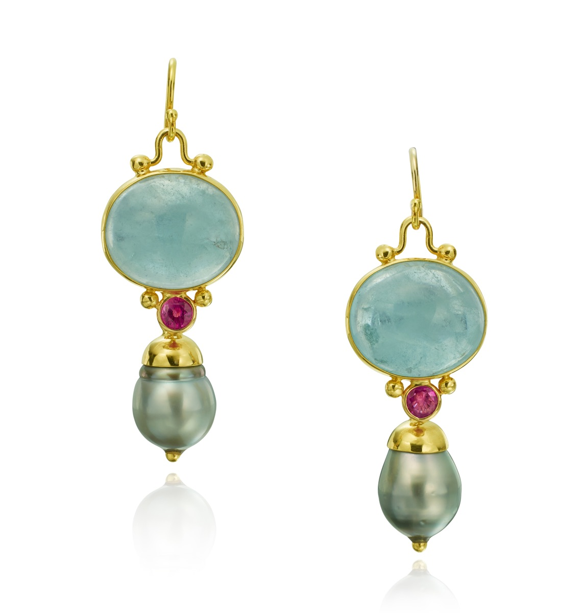The Jewel - Mazza - Lookbook - Green/Blue, Pink and Gold Drop Earrings