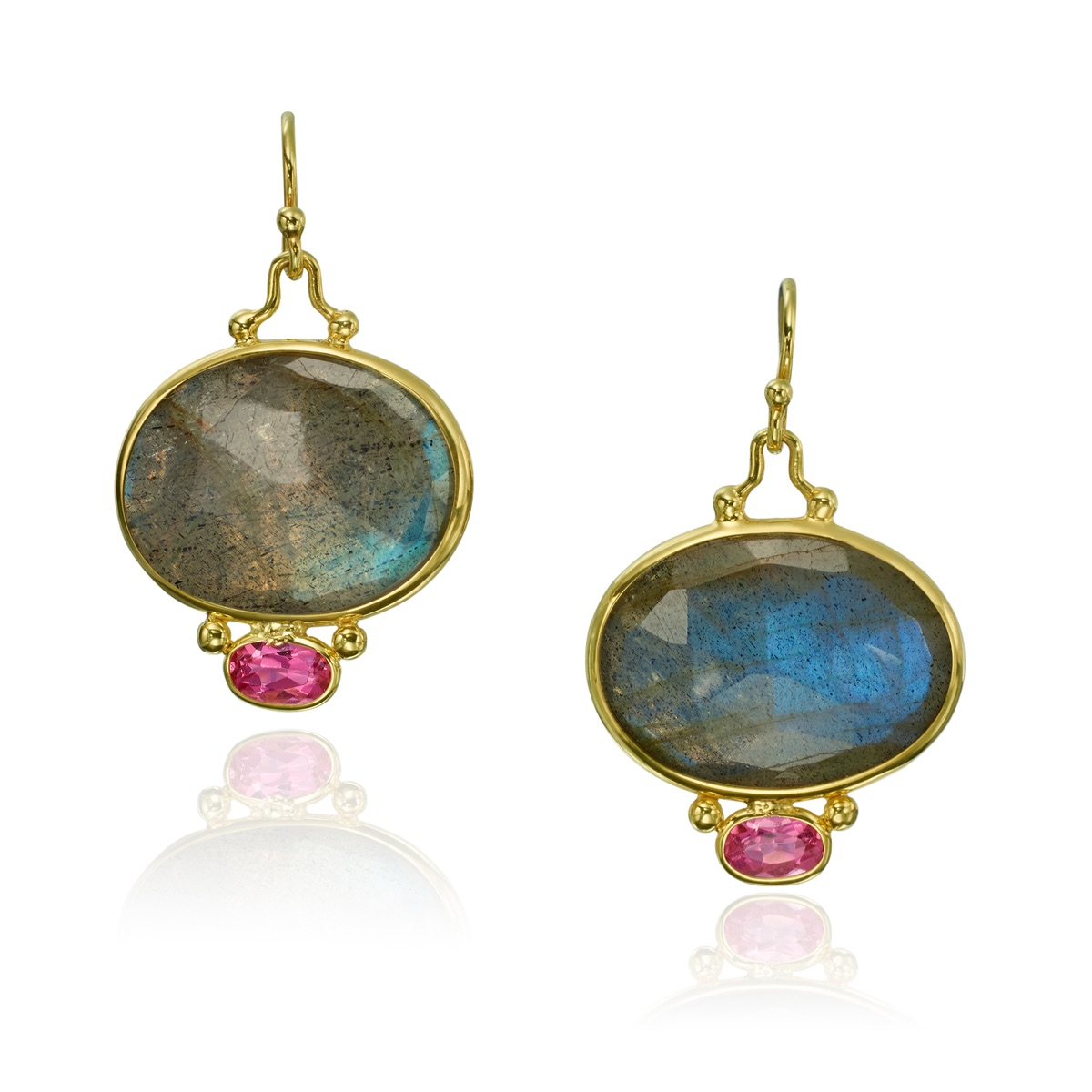 The Jewel - Mazza - Lookbook - Blue, Pink and Gold Drop Earrings