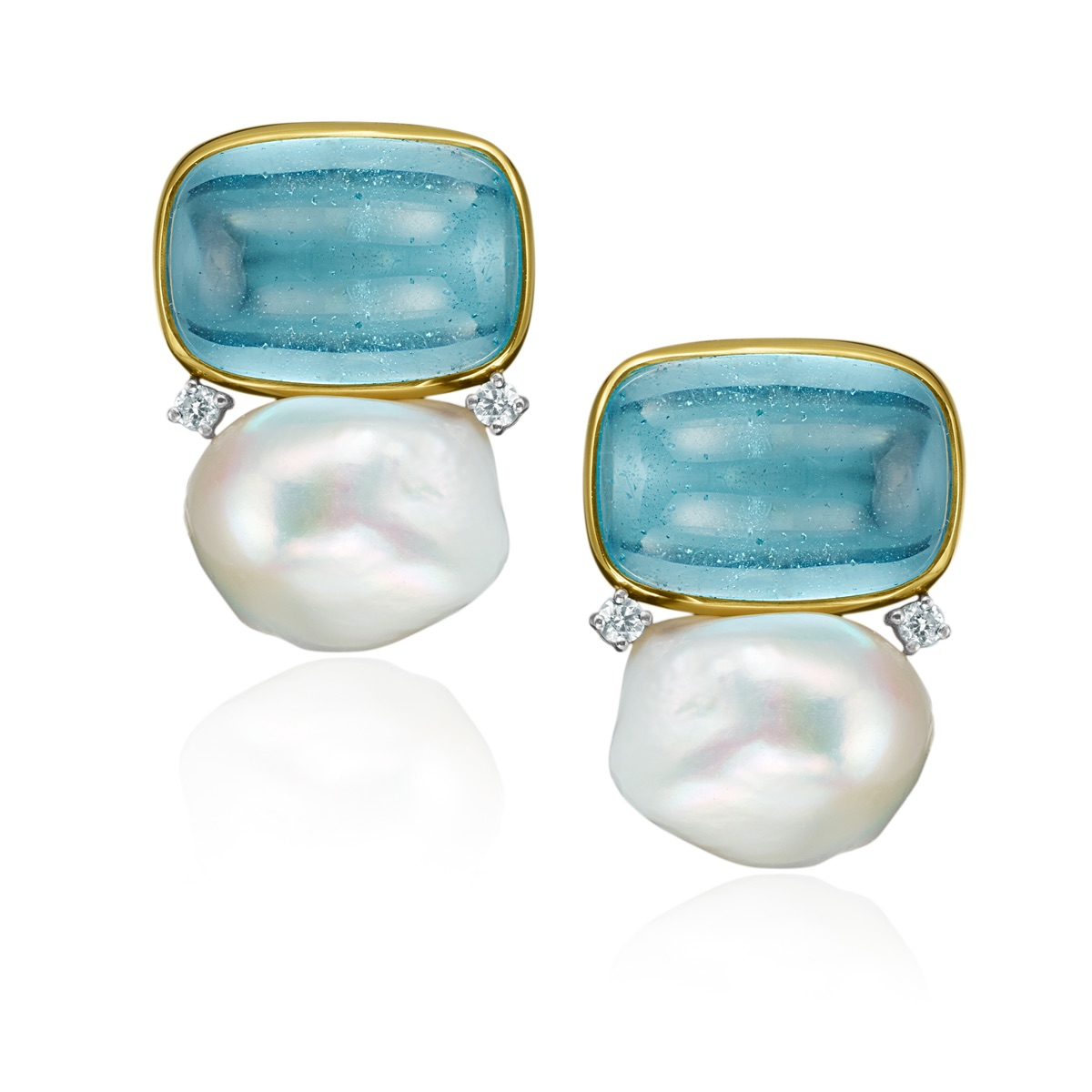 The Jewel - Mazza - Lookbook - Gold, Blue and Pearl Earrings
