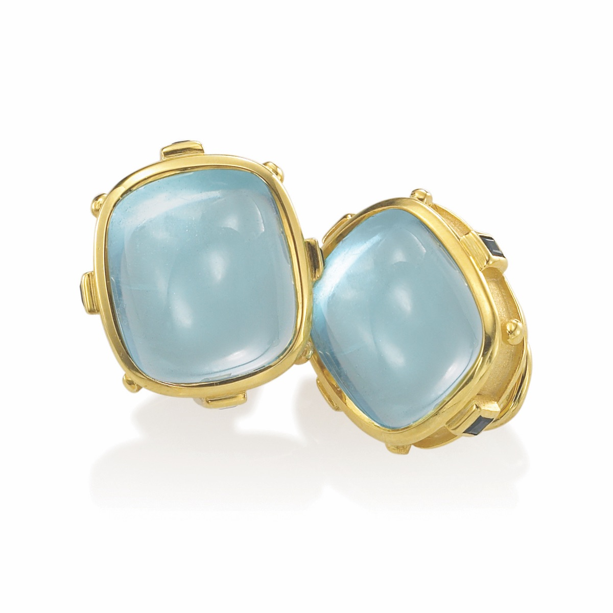 The Jewel - Mazza - Lookbook - Gold and Blue Square Earrings