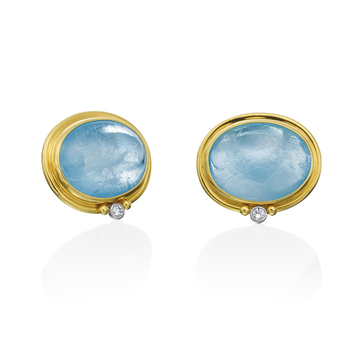 The Jewel - Mazza - Lookbook - Blue and Gold Oval Earrings