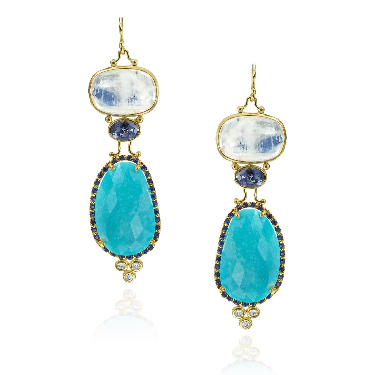 The Jewel - Mazza - Lookbook - Blue and Gold Drop Earrings