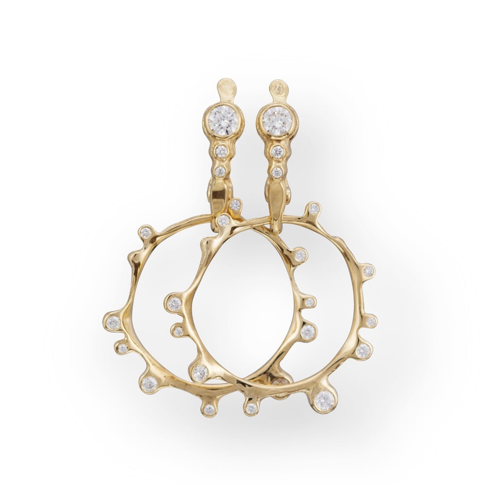 The Jewel - Audrius Krulis Designer - Lookbook - Gold Diamond Circle Drop Earrings