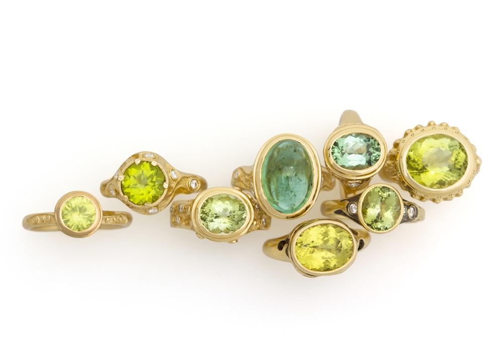 The Jewel - Audrius Krulis Designer - Lookbook - Green Gold Rings