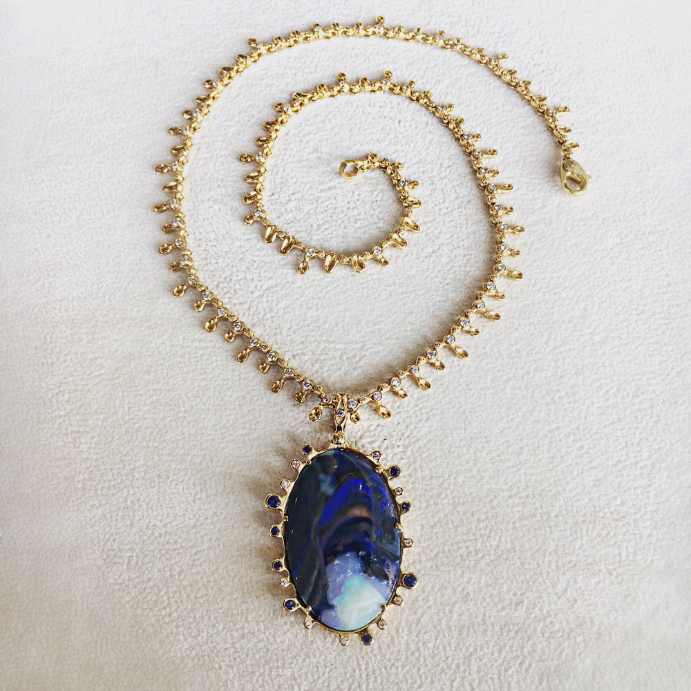 The Jewel - Audrius Krulis Designer - Lookbook - Gold Purple Gemstone Necklace