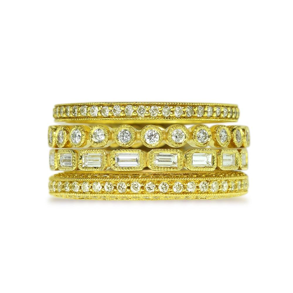 The Jewel - Ila - Lookbook - Gold Skinny Studded Rings