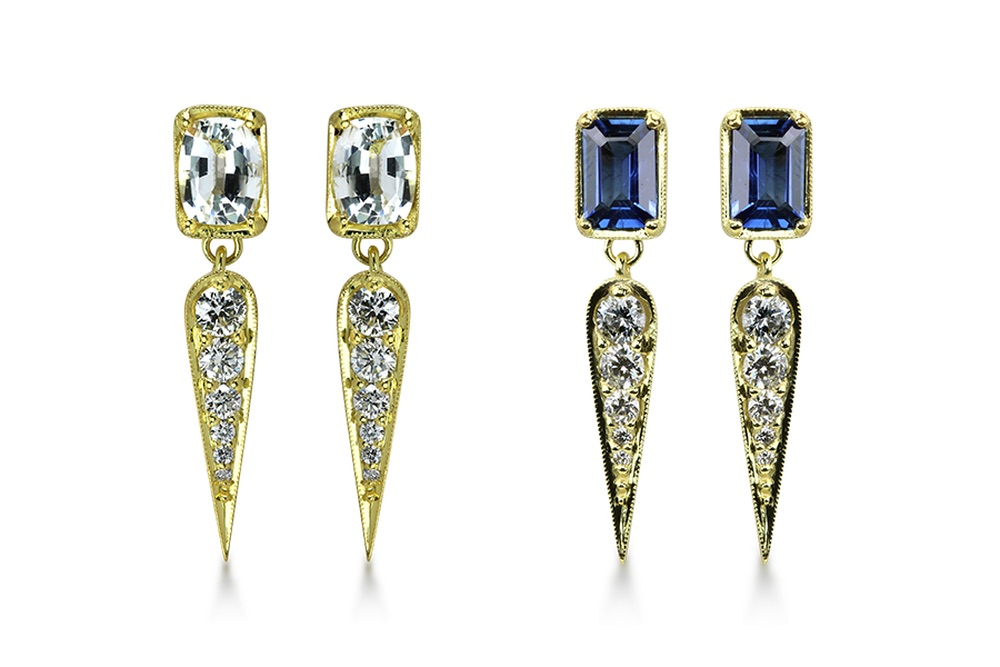 The Jewel - Ila - Lookbook - Diamond Sapphire Teardrop Earrings