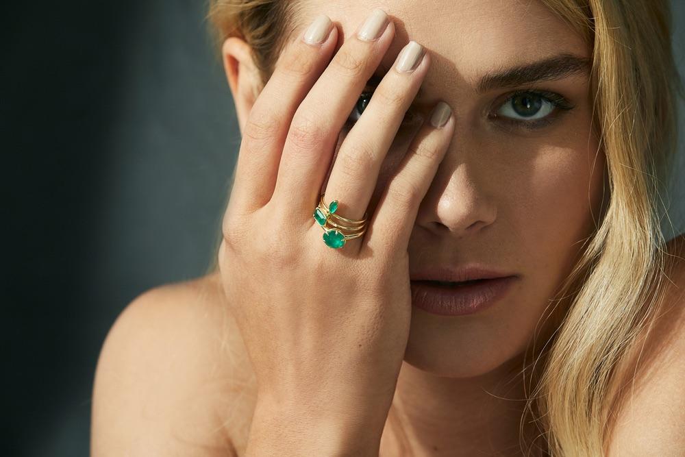The Jewel - Ila - Lookbook - Gold Green Rings
