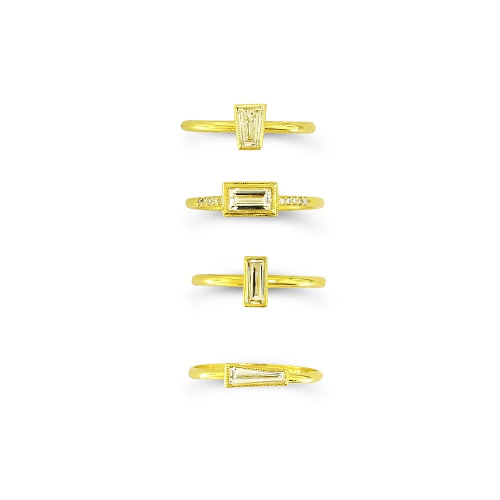 The Jewel - Ila - Lookbook - Gold Diamond Square Rings