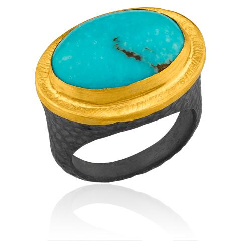 The Jewel - Lika Behar Lookbook - Dark Gray Gold Blue Ring