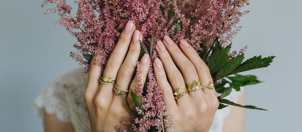 The Jewel - Tura Sugden - Lookbook - Gold Green RIngs