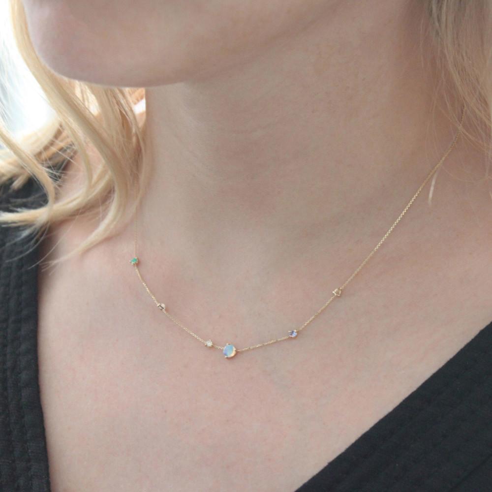 The Jewel - wwake - Lookbook - Dainty Gold Blue Necklace