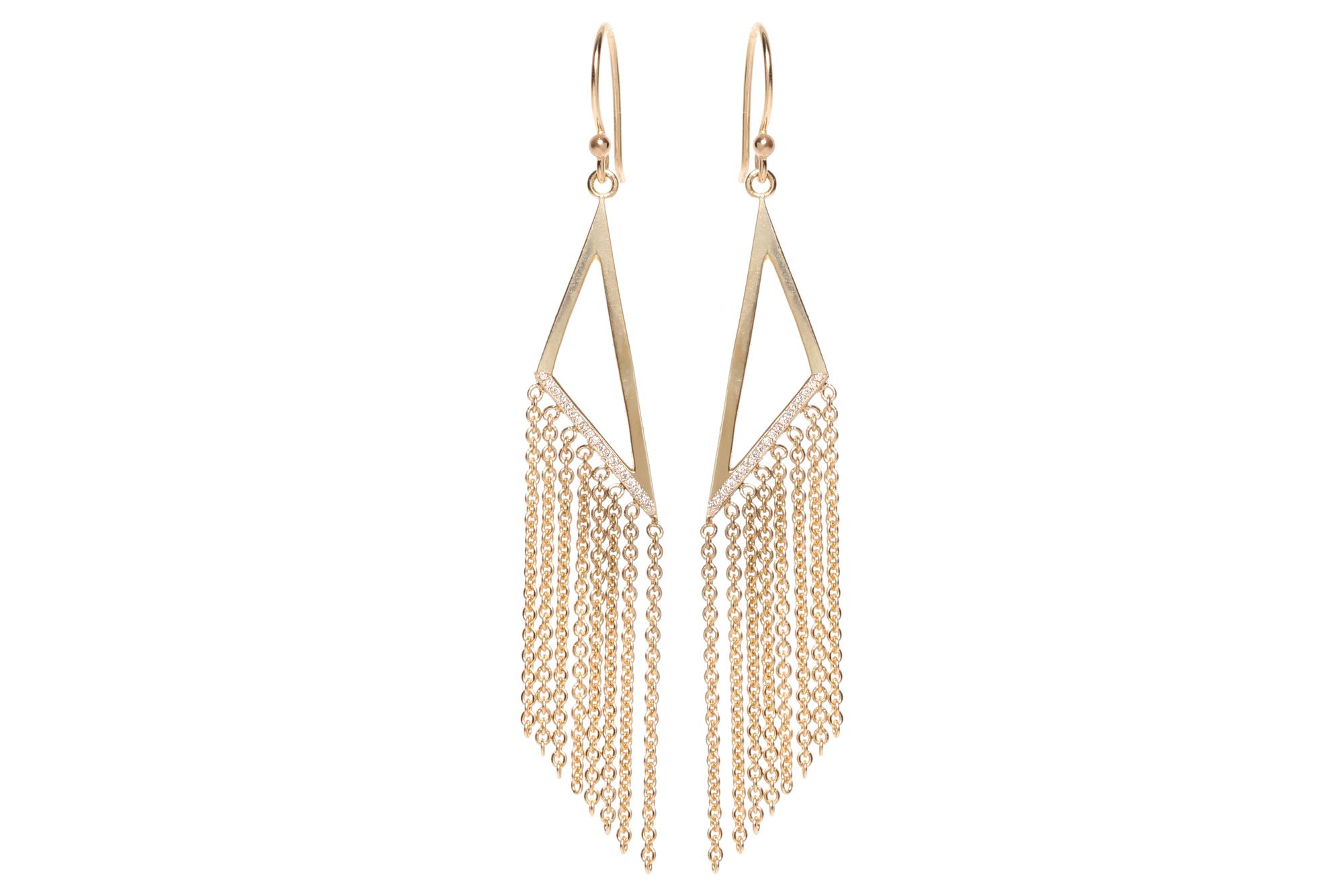 The Jewel - Zoe Chicco - Lookbook - Gold Triangle Chain Earrings