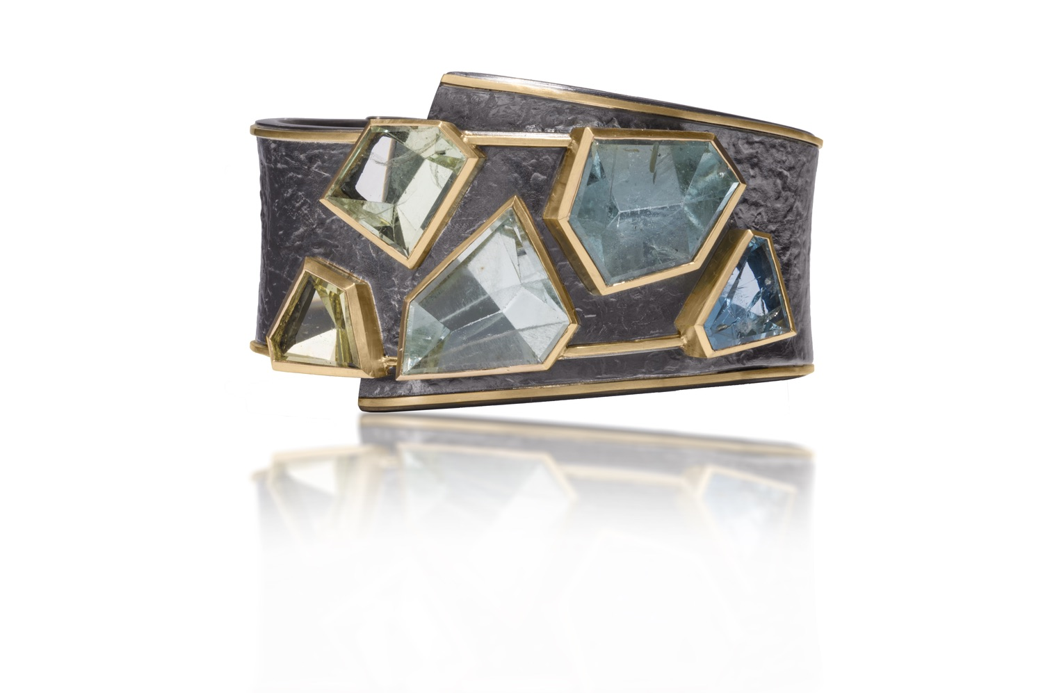 The Jewel - Elizabeth Garvin - Lookbook - Dark Gray Blue and Green Gold Lined Ring