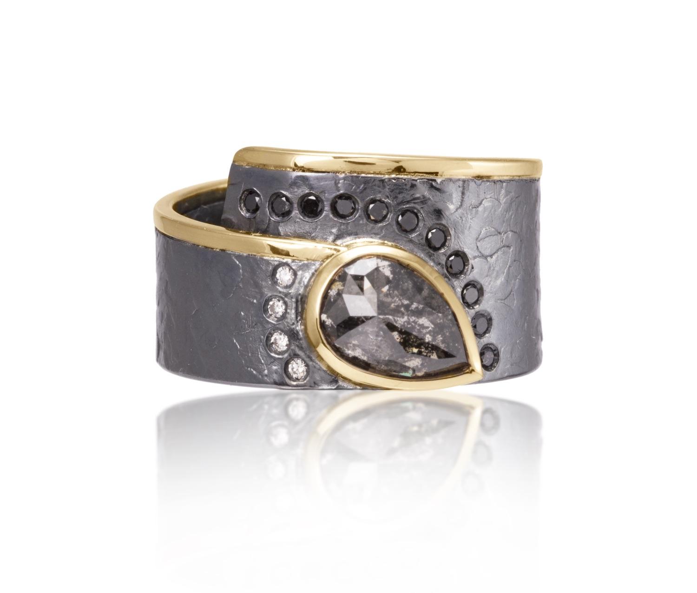 The Jewel - Elizabeth Garvin - Lookbook - Gray and Gold Studded Teardrop Ring
