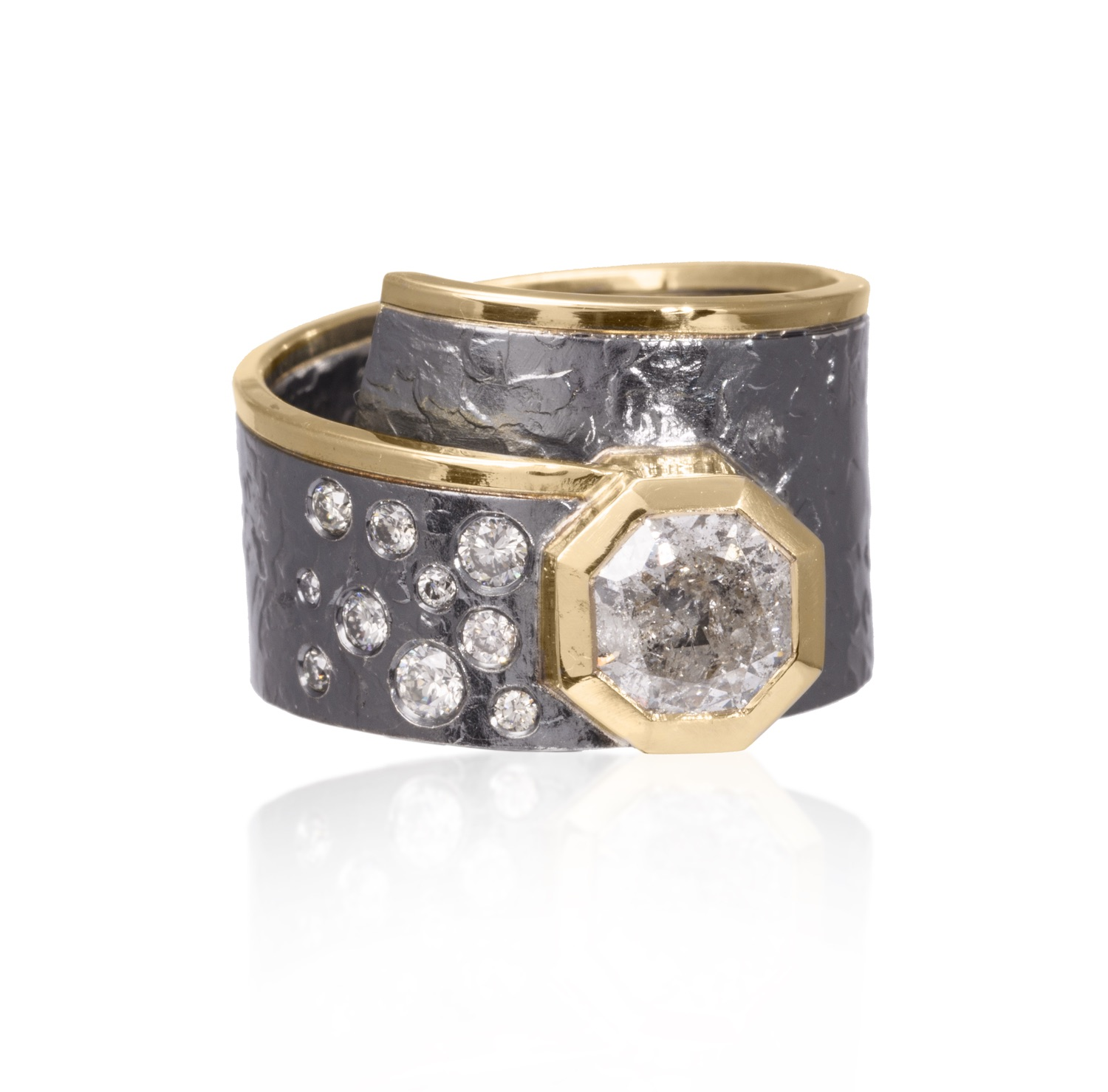 The Jewel - Elizabeth Garvin - Lookbook - Gray and Gold Studded Octagon Ring