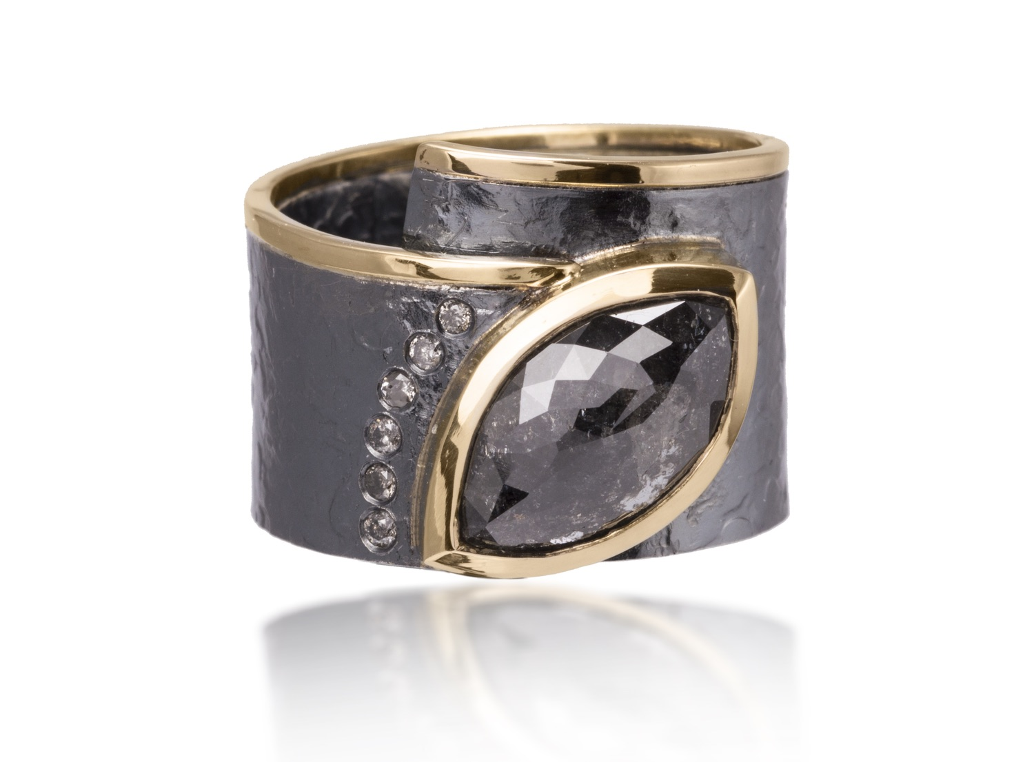 The Jewel - Elizabeth Garvin - Lookbook - Gray and Gold Studded Oval Ring