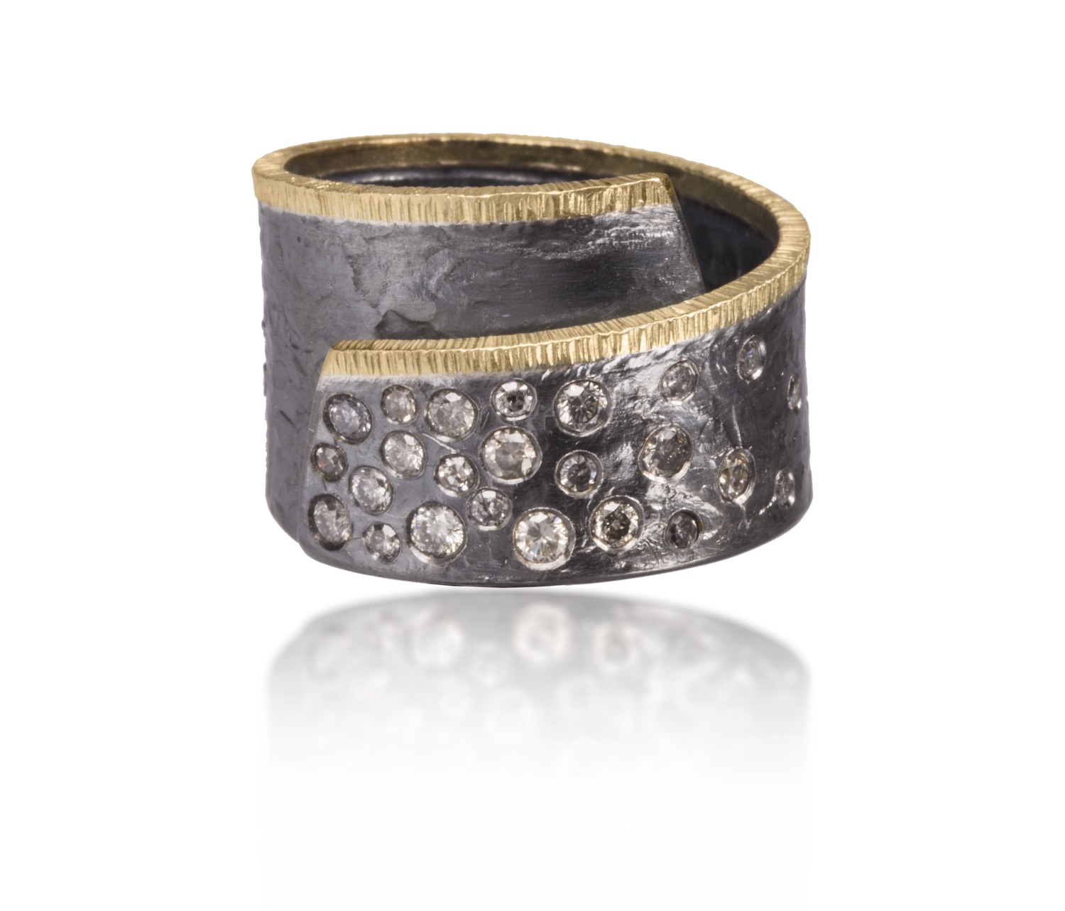 The Jewel - Elizabeth Garvin - Lookbook - Silver and Gold Diamond Studded Wrap Ring