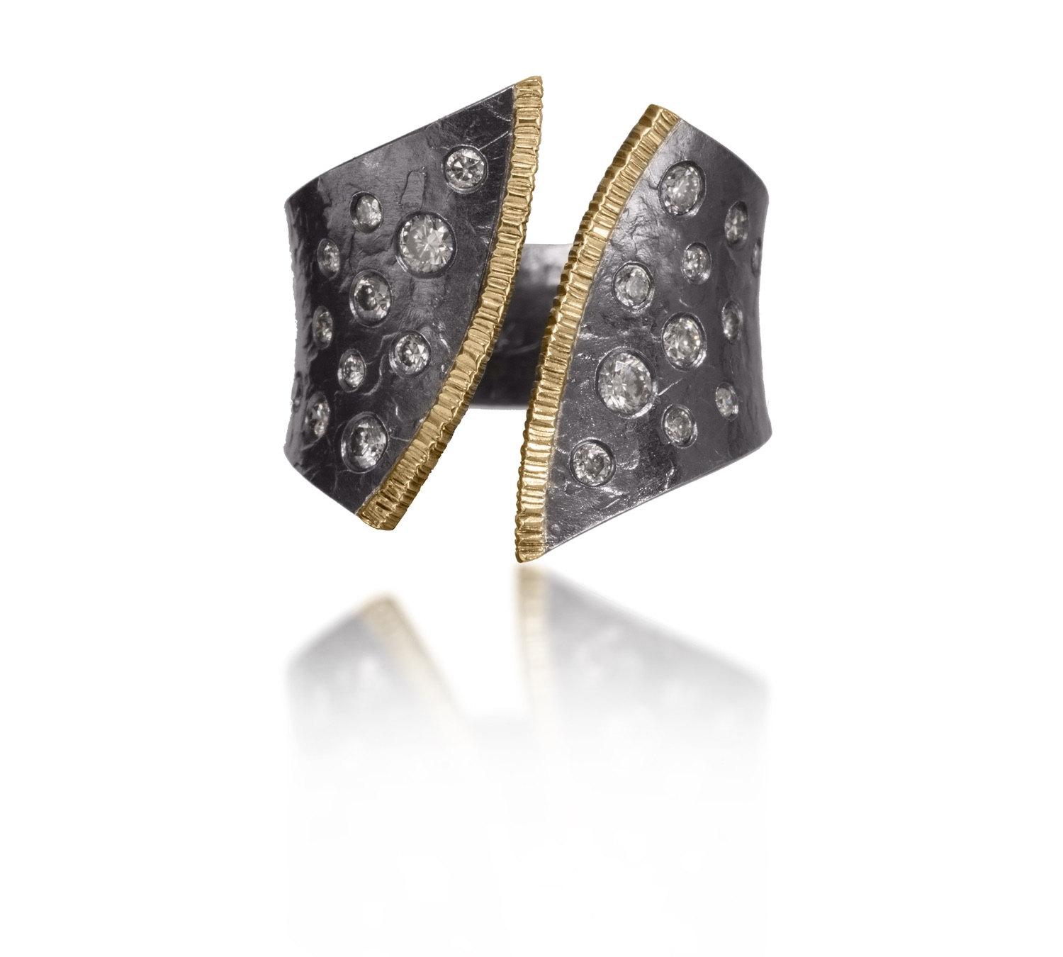 The Jewel - Elizabeth Garvin - Lookbook - Silver and Gold Diamond Studded Ring