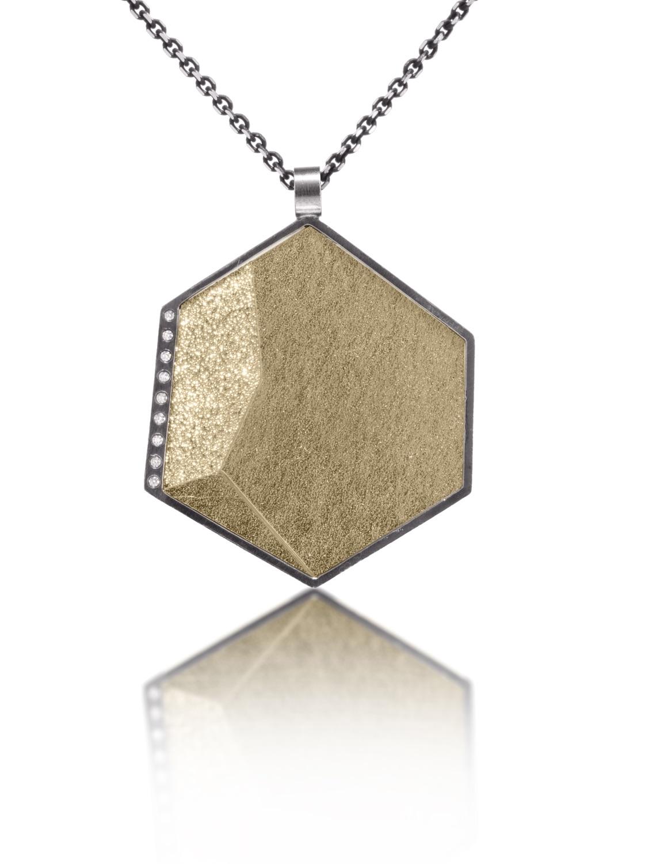 The Jewel - Elizabeth Garvin - Lookbook - Gold and Silver Hexagon Necklace