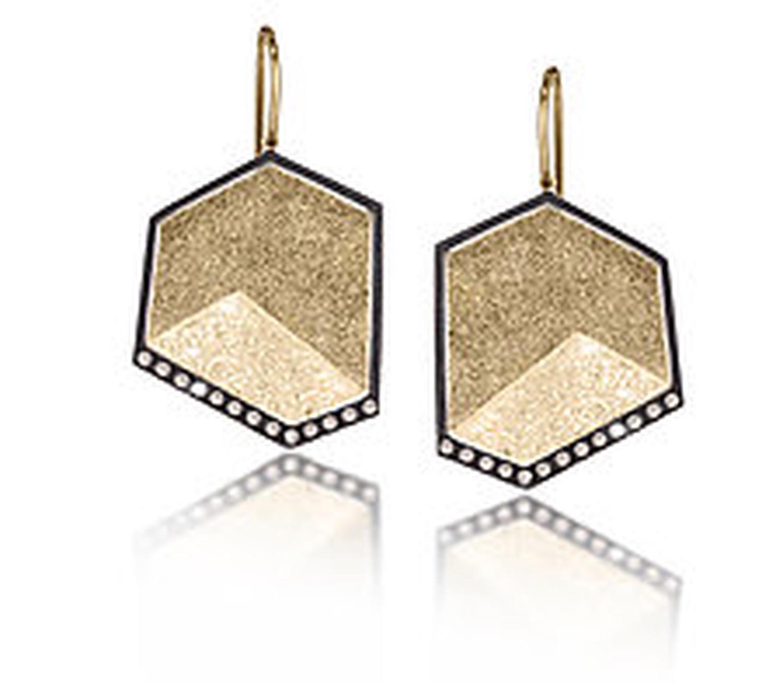 The Jewel - Elizabeth Garvin - Lookbook - Black and Gold Drop Earrings