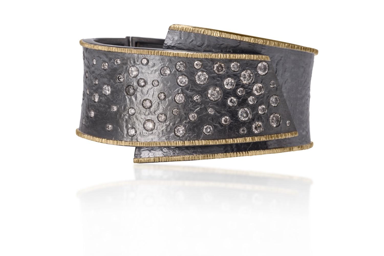The Jewel - Elizabeth Garvin - Lookbook - Gold Lined Dark Gray Studded Wrap Ring